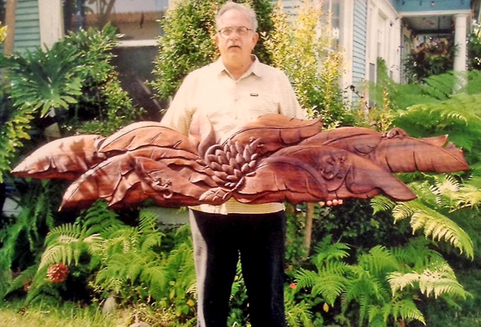 Floral headboards carved by Richard Morgan Howell
