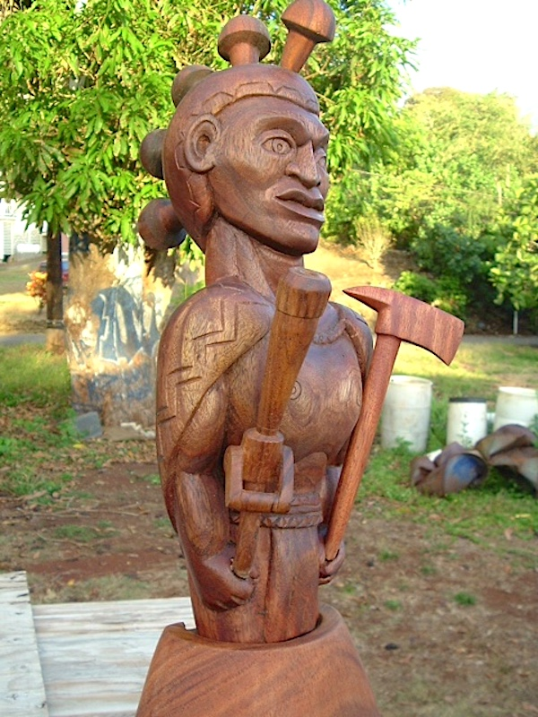Kauai airport fire and rescue trophy, Tahitian Almond wood.