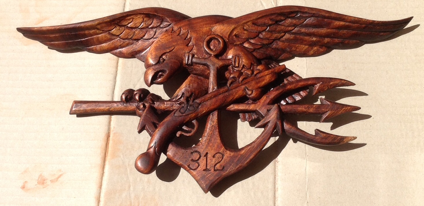 US Navy Seals Trident Emblem-Hand carved by Richard Morgan Howell